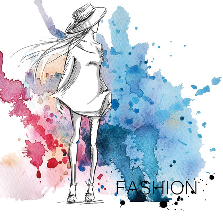 Illustration pour fashion sketch. Girl on a watercolor background. - image libre de droit