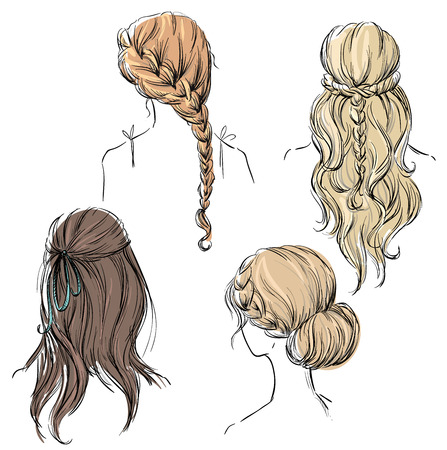 Illustration for set of different hairstyles. Hand drawn. - Royalty Free Image