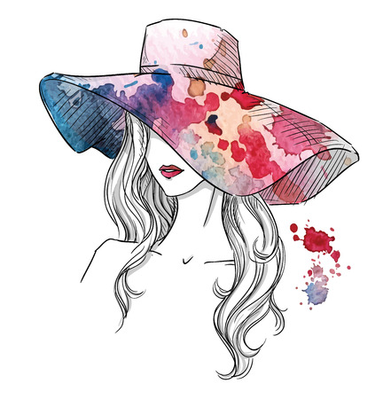 Ilustración de Sketch of a girl in a hat. Fashion illustration. Hand drawn - Imagen libre de derechos