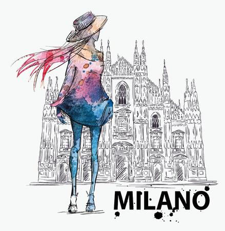 Ilustración de fashion sketch. Girl on a Milano Duomo  background - Imagen libre de derechos