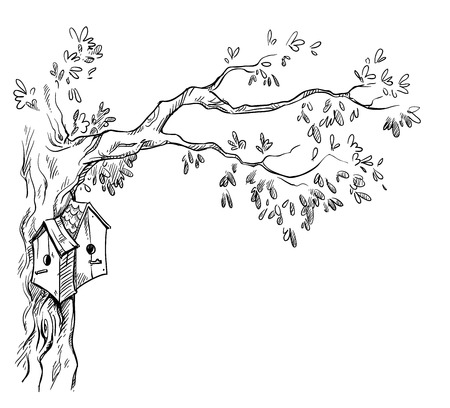 Illustration for bird houses on a tree - Royalty Free Image