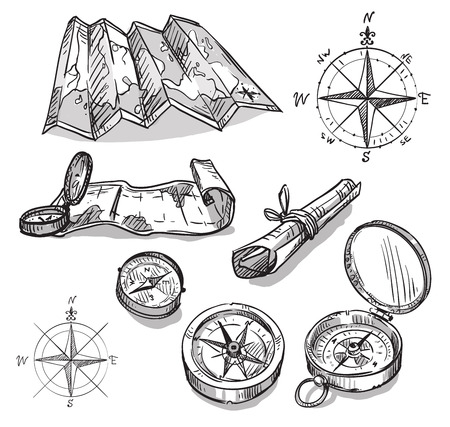 Illustration for Set of hand drawn compasses and maps - Royalty Free Image