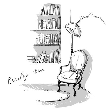 Ilustración de Reading time. A quiet cozy corner at home ? bookshelves and a chair - Imagen libre de derechos