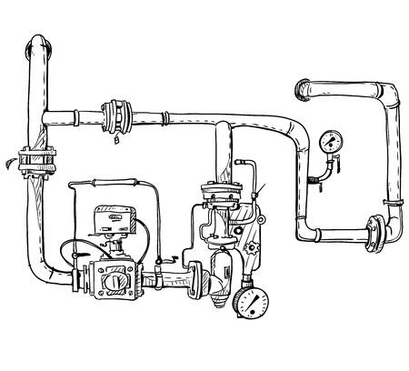 Illustration pour Boiler room. Pipes. Vector sketch. - image libre de droit