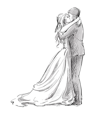 Foto de Wedding couple kiss. Newlywed.  Vector sketch. - Imagen libre de derechos