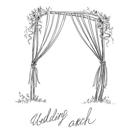 Illustration pour Wedding arch. Decoration. Vector sketch. Design element. - image libre de droit