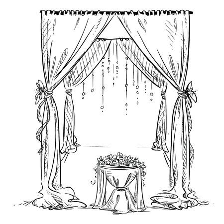 Ilustración de Wedding arch. Wedding altar. Decoration. Vector sketch. Design element. - Imagen libre de derechos