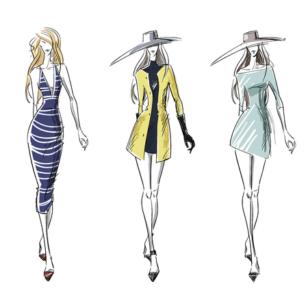 Illustration for Summer and autumn look, fashion illustration - Royalty Free Image