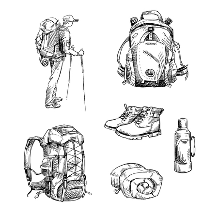Illustration pour Hiking and camping. Set of drawings - image libre de droit