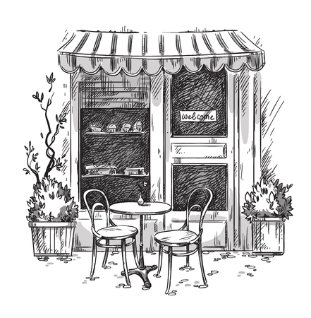 Illustration pour Little cosy cafe. Vector sketch - image libre de droit