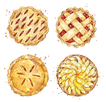 Photo pour Set of home made pies, watercolor - image libre de droit