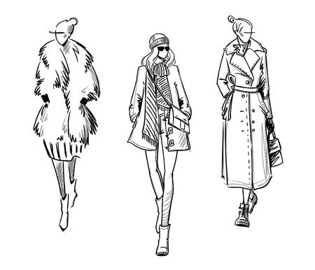Illustrazione per Winter look. Fashion illustration - Immagini Royalty Free