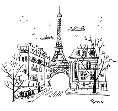 Illustration for Paris streets sketch - Royalty Free Image
