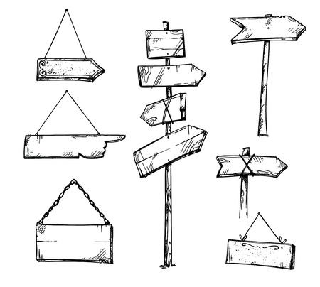 Illustration pour Set of wooden arrow signs, hand drawn - image libre de droit