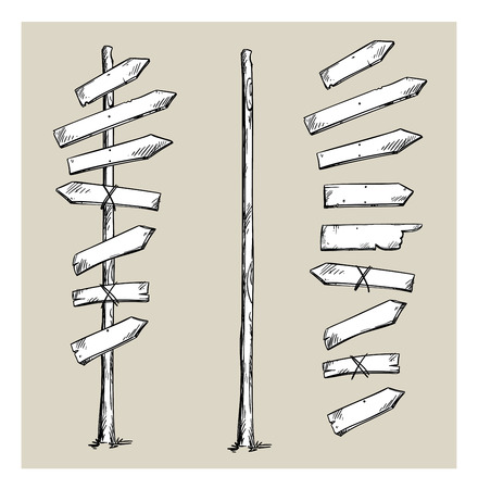 Illustration pour Wooden signpost with arrows - image libre de droit
