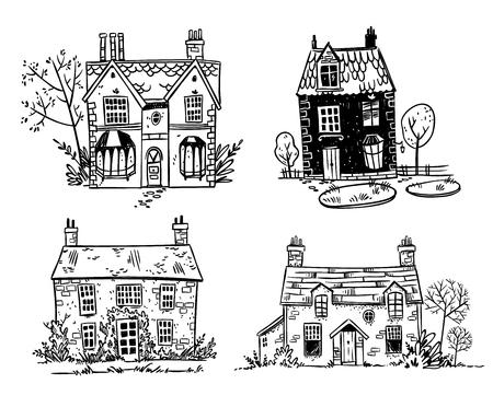 Ilustración de Set of pretty cartoon English cottages - Imagen libre de derechos