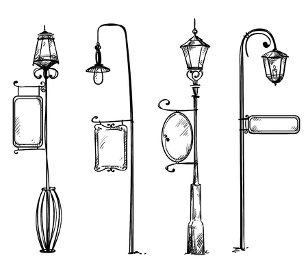 Illustration pour Street lamps with information signs - image libre de droit
