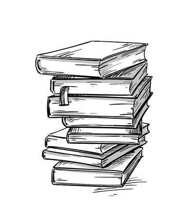 Illustration pour Heap of books, vector drawing - image libre de droit