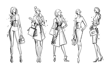 Illustrazione per Street look. Fashion illustration, vector sketch - Immagini Royalty Free