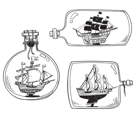 Illustration pour Souvenir from the sea - ship in a bottle. - image libre de droit
