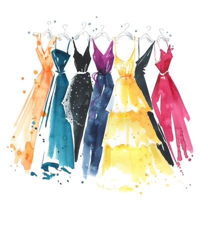 Photo pour Set of watercolor dresses on hangers, fashion illustration - image libre de droit