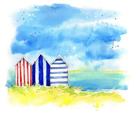 Photo pour Beach huts by the sea, watercolor painting - image libre de droit