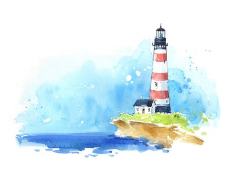 Photo pour Watercolour sketch of a lighthouse at the seaside, seascape. - image libre de droit