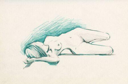 Photo pour Pencil drawing of a beautiful young woman. - image libre de droit