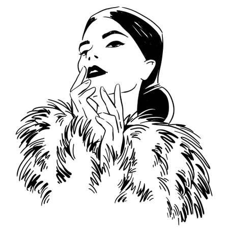 Ilustración de fashion illustration. portrait of woman wearing furcoat - Imagen libre de derechos