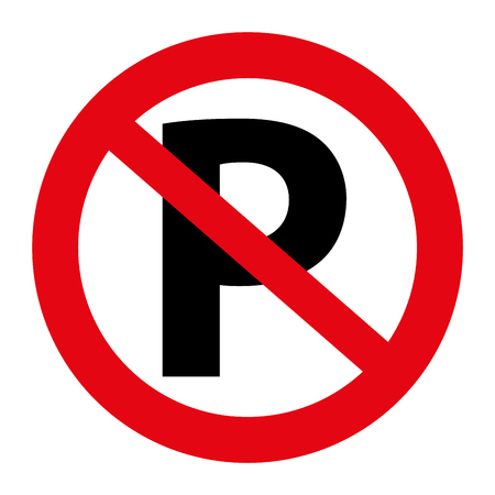 Illustration pour Illustration Traffic no parking sign graphic isolated on white - image libre de droit