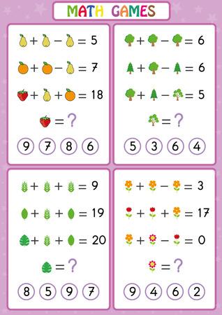 Ilustración de Mathematics educational game for kids, fun worksheets for children, Kids are learning to solve problems. - Imagen libre de derechos