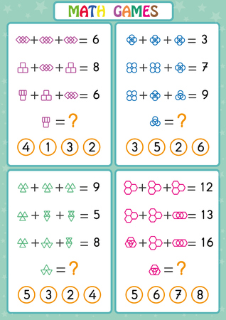 Illustration pour Mathematics educational game for kids, fun worksheets for children, Kids are learning to solve problems. - image libre de droit