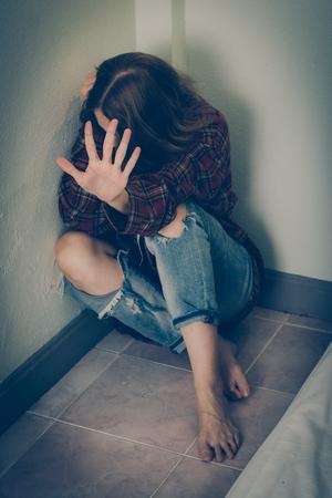 Foto de Woman abuse victim. Domestic violence, harassment, depression, drug addiction, human trafficking. - Imagen libre de derechos