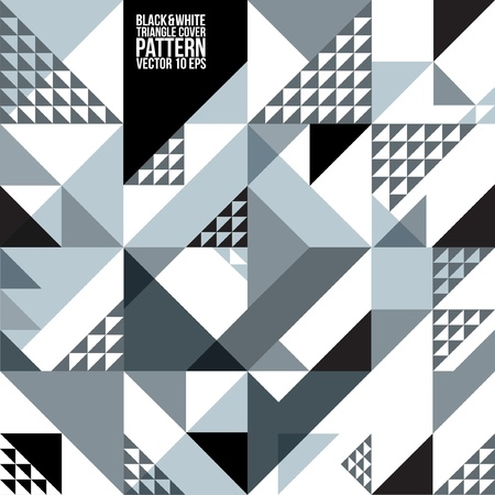 Illustration for Abstract Geometric Black   White Triangle Pattern   Background , Cover , Layout , Magazine, Brochure , Poster , Website , etc  - Royalty Free Image