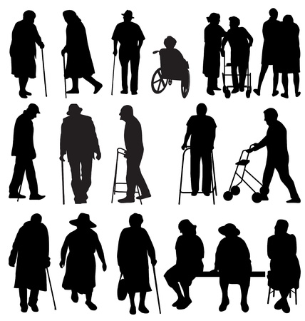 Illustration for elderly silhouettes set - Royalty Free Image