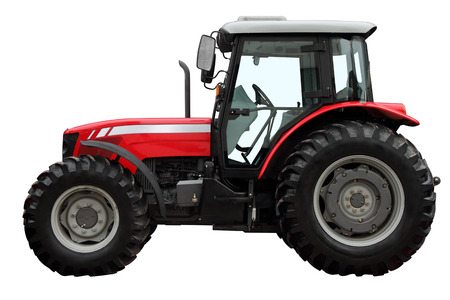 Foto de The modern red tractor is isolated on a white background. A side view. - Imagen libre de derechos