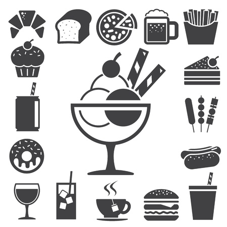 Fast food and dessert icon set Illustration