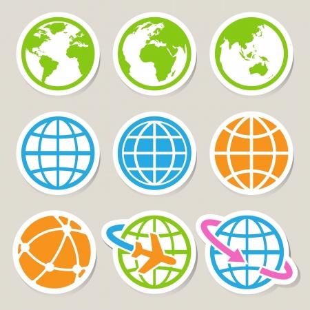 Illustration pour Earth icons set - image libre de droit
