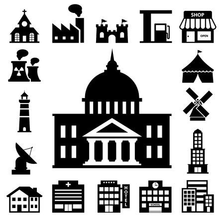 Illustration pour buildings icon set - image libre de droit
