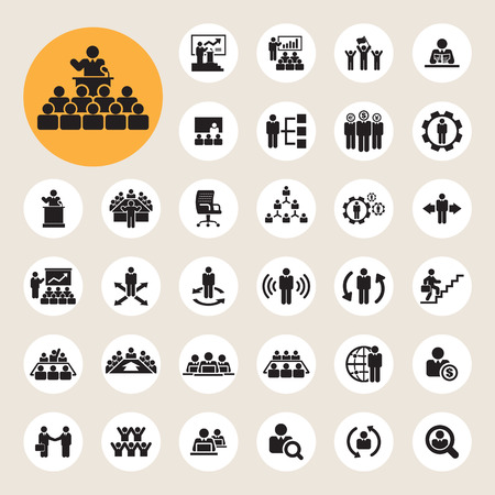 Illustration pour Business and Management Icons set - image libre de droit