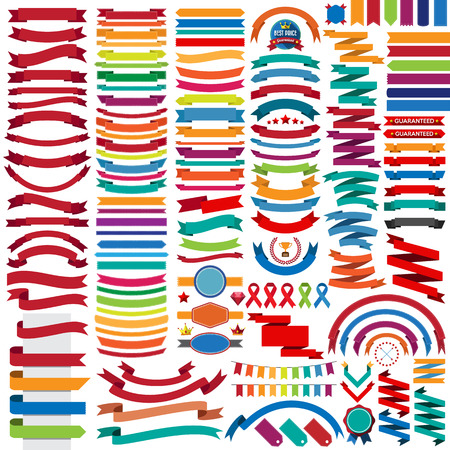 Illustration pour Mega collection of retro ribbons and labels.illustration eps10 - image libre de droit