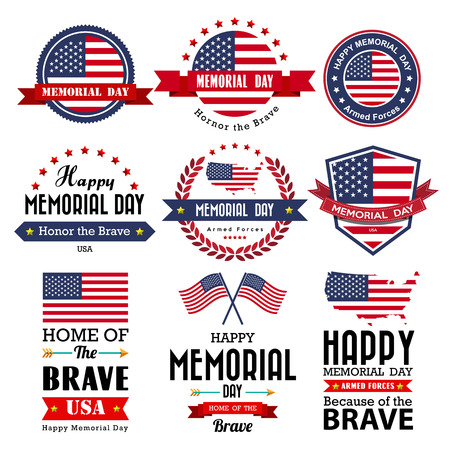 Illustration pour Happy Memorial Day vector greeting card ,badge and labels .Illustrator eps10 - image libre de droit