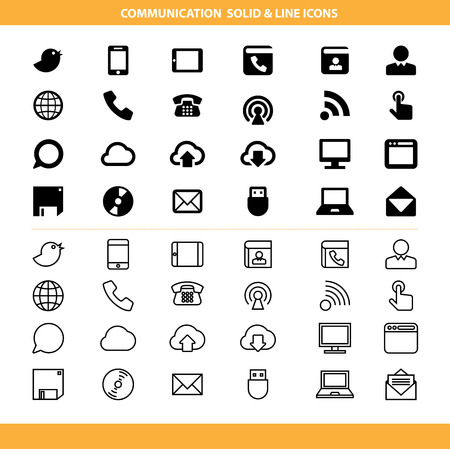 Illustration pour Communication solid and line icons set .Illustration eps10 - image libre de droit