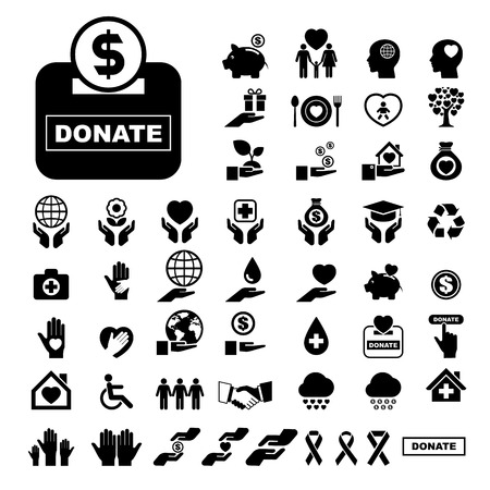 Illustration for Charity and donation icons set. Illustration eps10 - Royalty Free Image