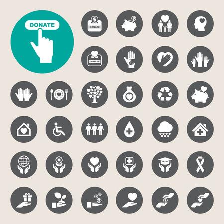 Ilustración de Charity and donation icons set. Illustration eps10 - Imagen libre de derechos