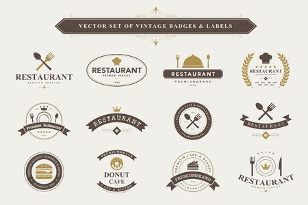 Ilustración de Set of vintage  food badges and labels - Imagen libre de derechos