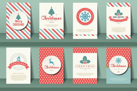 Ilustración de Set of  Christmas brochures in vintage style .Vector eps10 - Imagen libre de derechos