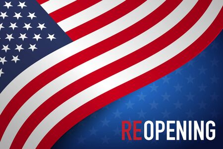 Ilustración de Concepts of reopening America after quarantine the country for prevention coronavirus pandemic outbreak. Vector - Imagen libre de derechos