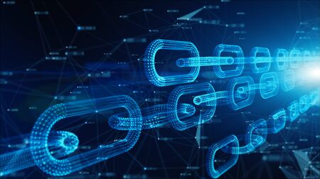 Foto de Depth of field, Network Chain Links Connections, Crypto currency connected and Digital technology network concept. - Imagen libre de derechos
