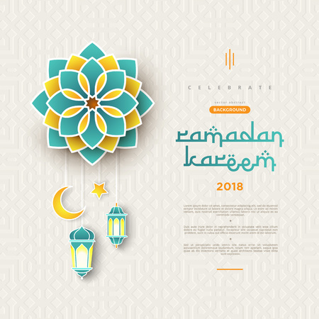 Illustration for Ramadan Kareem concept banner with islamic geometric patterns and frame. Paper cut flowers, traditional lanterns, moon and stars on dark green tosca background color. Vector illustration - Royalty Free Image